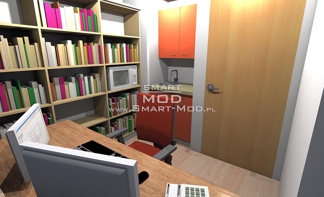 biuro przy fabryce dla 3 osób wnętrze