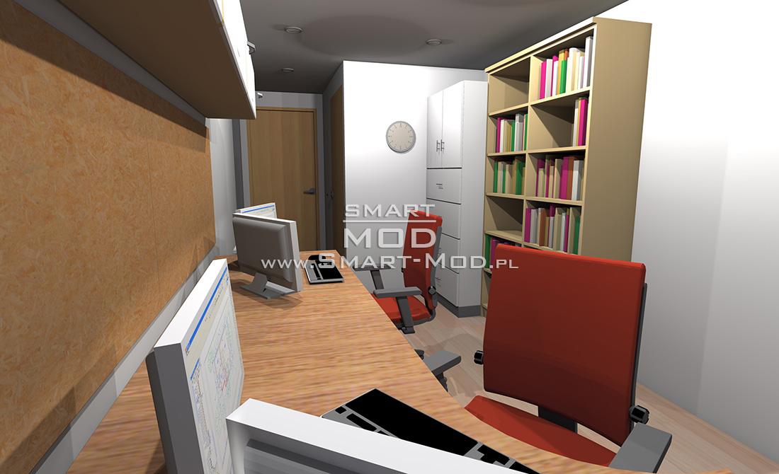 wnętrze biura modułowego
