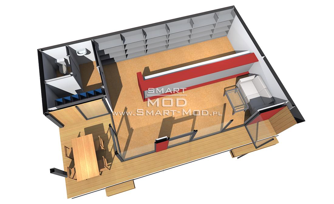 plan nowoczesnej recepcji modułowej