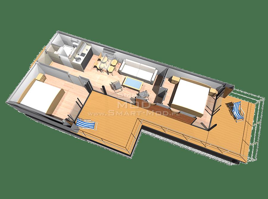 modułowe domki letniskowe z 2 sypialniami rzut