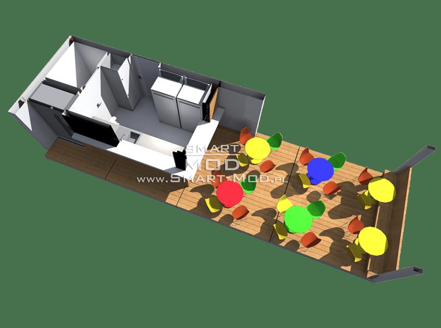 rzut baru modułowego kawiarni