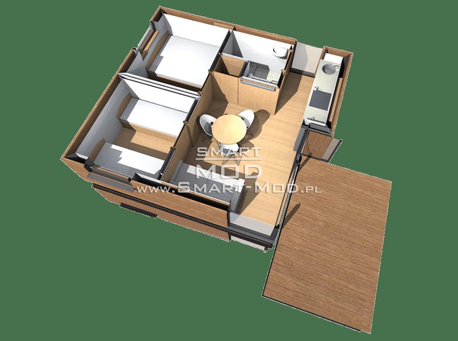 najmniejszy domek kempingowy z 2 sypialniami rzut