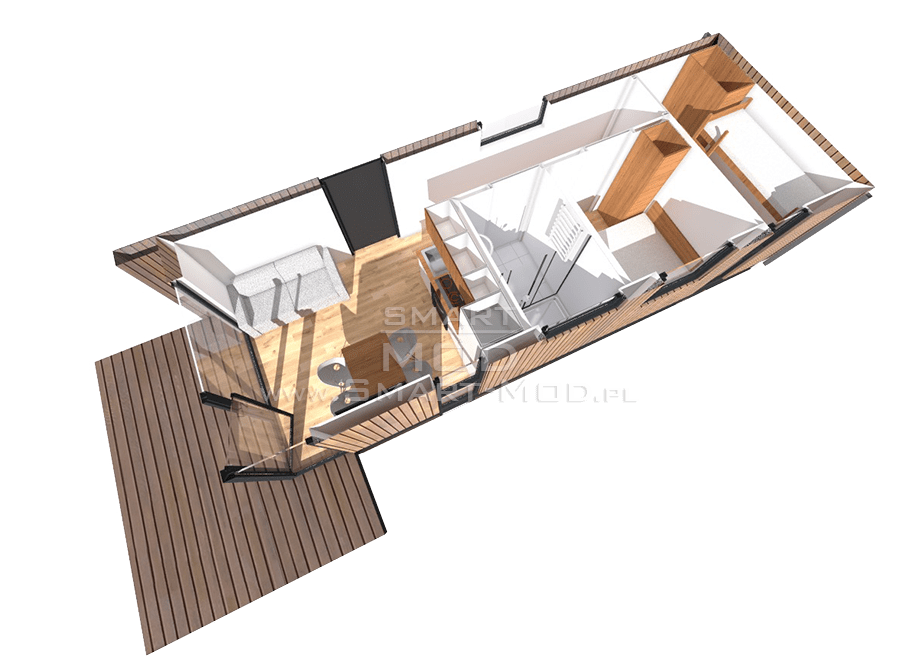 domki letniskowe modułowe rzut 3d