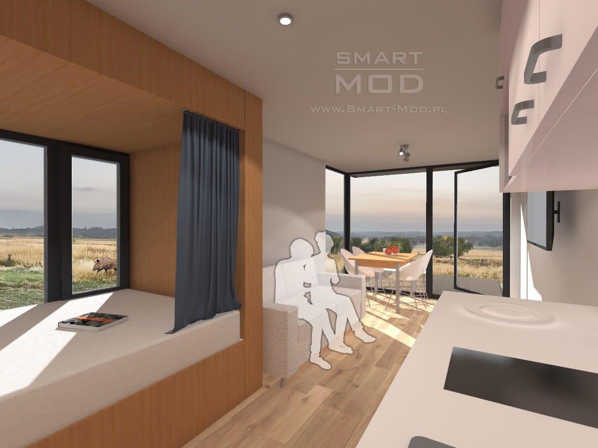 wnętrze nowoczesnego domku letniskowego sleepbox