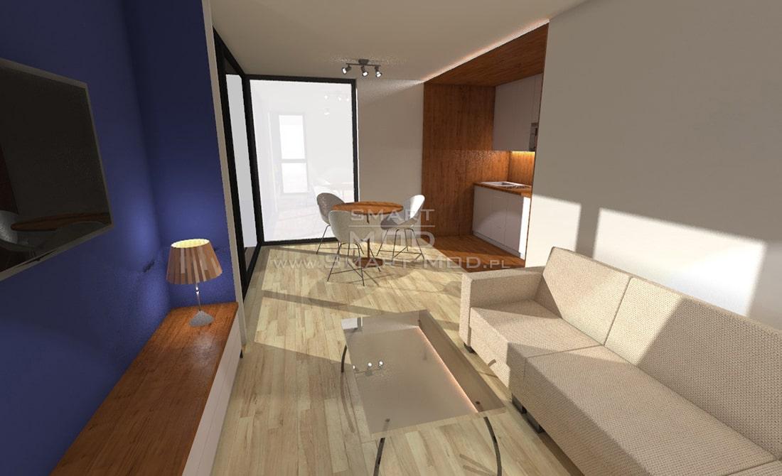 domki kempingowe wizualizacja salonu
