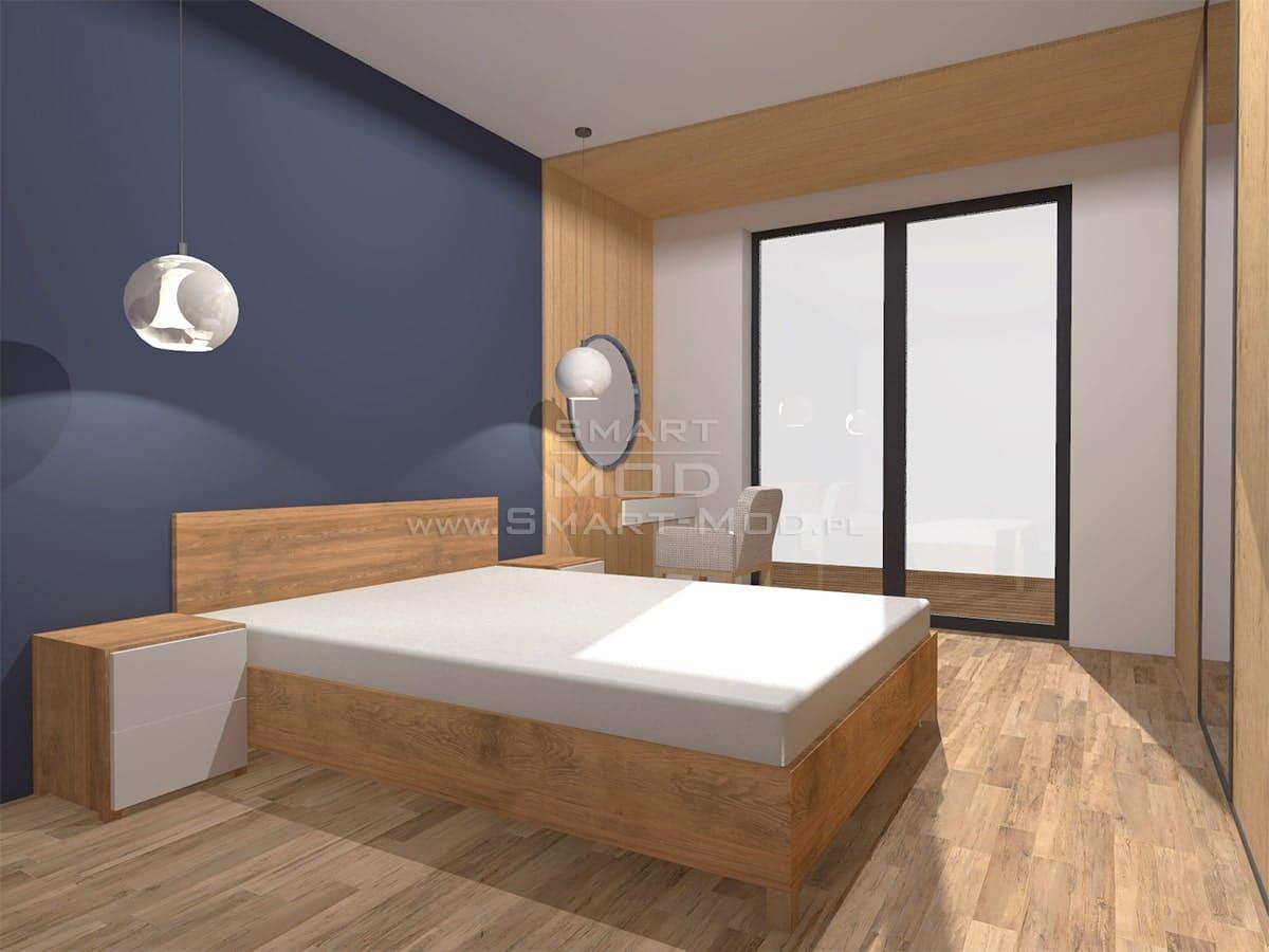 wnętrze domu modułowego sypialnia