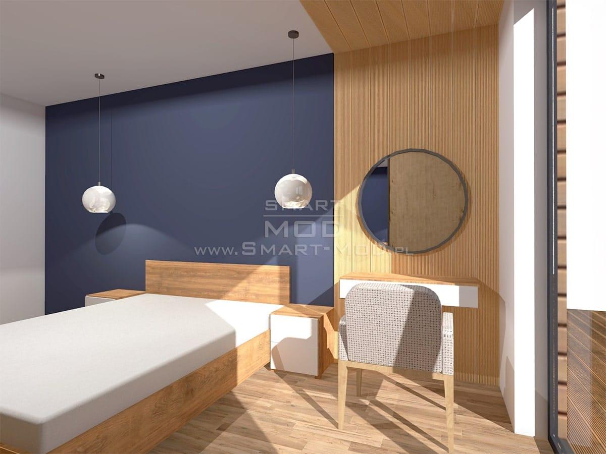 wnętrze domu modułowego sypialnia 2