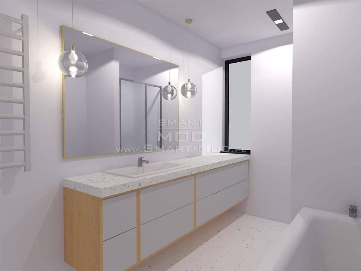 wnętrze domu modułowego sypialnia łazienka