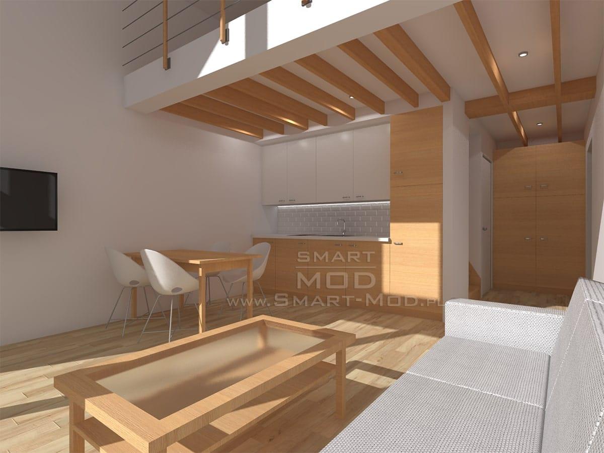 wnętrze domu z antresolą