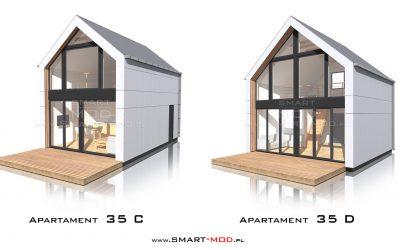 Modułowy dom z antresolą 35m2 z dachem dwuspadowym bez pozwolenia na budowę