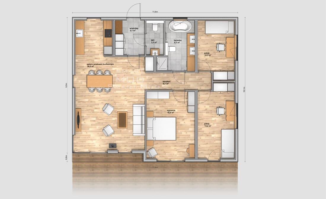 rzut domu modułowego apartament 115