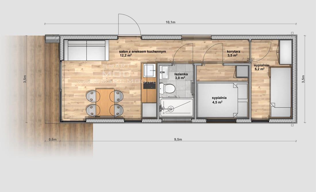 plan domku bez pozwolenia z 2 sypialniami i dachem dwuspadowym