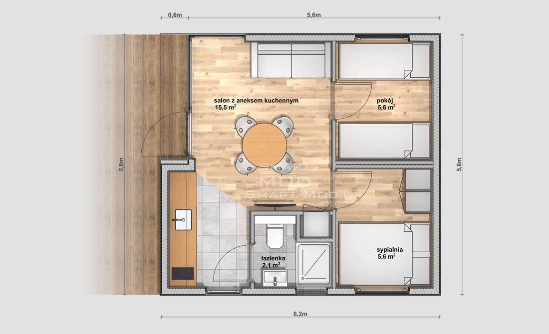plan domu letniskowego na zgłoszenie 35m2