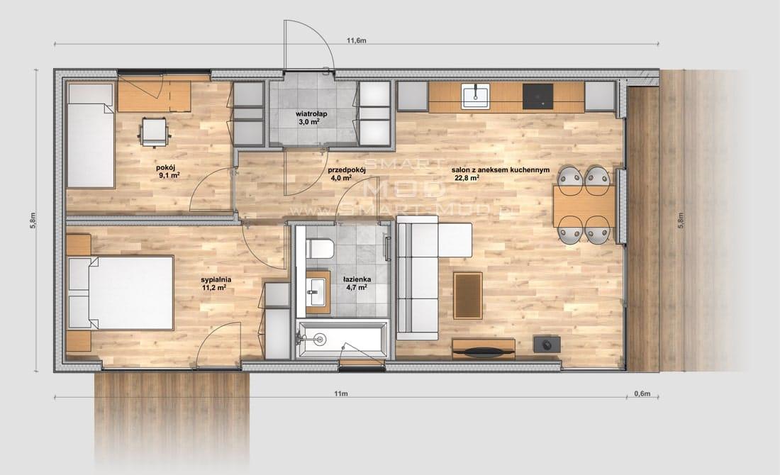 plan domu modułowego